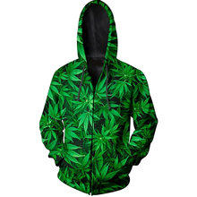 Hoodies For Men Sweatshirts 3D Printed Green Leaf Weed Graphic Pullovers Hip Hop Clothing Hooded Zipper Pocket Hoody Streetwear(Hong Kong,China)