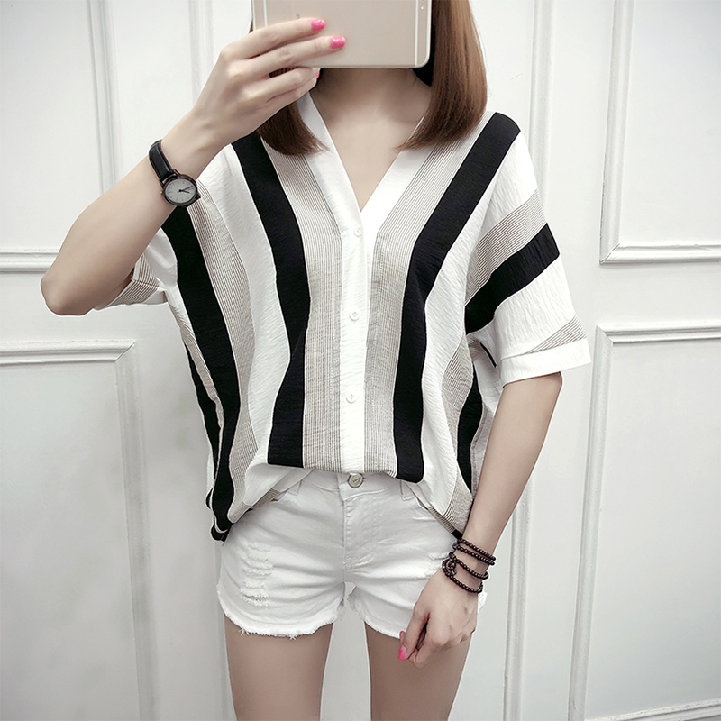 Women Striped   Blouse     Shirt   Half Sleeve   Blouse   V-neck   Shirts   Casual Tops   Blouse   et Chemisier Femme Blusas Mujer de Moda