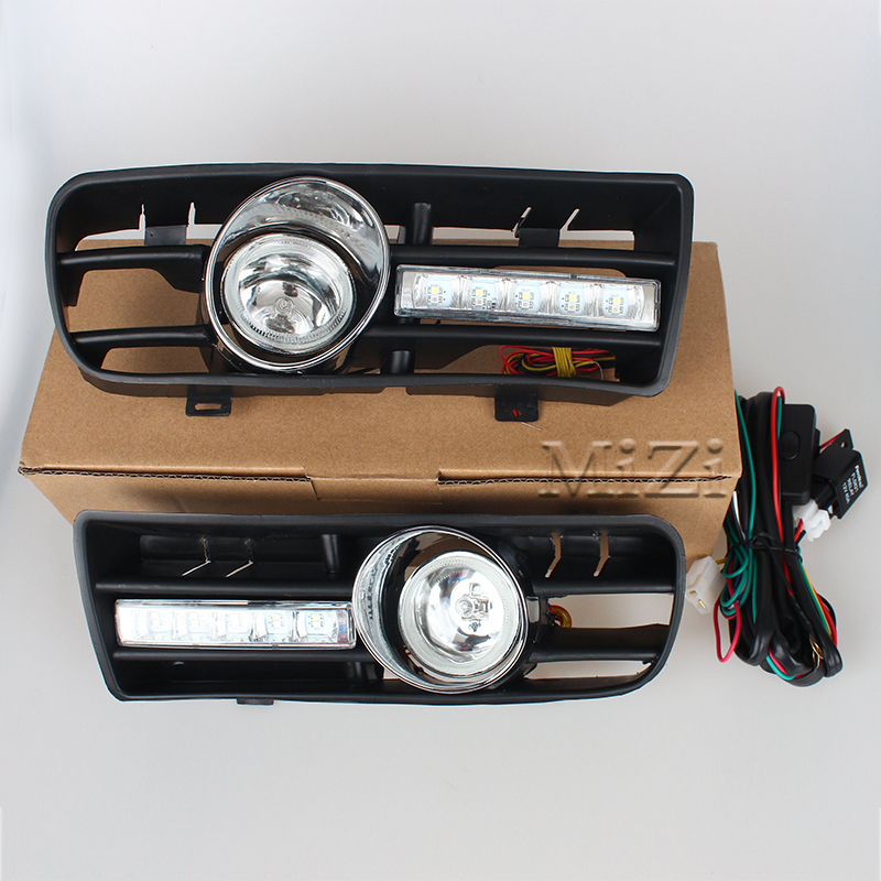 Car Daytime Running Lights Fog Lamp For VW GOLF 4 MK4 1997 2006 GTI 2005 2008 LED Front Lower Side Bumper Grille With LED DRL in Signal Lamp from Automobiles Motorcycles