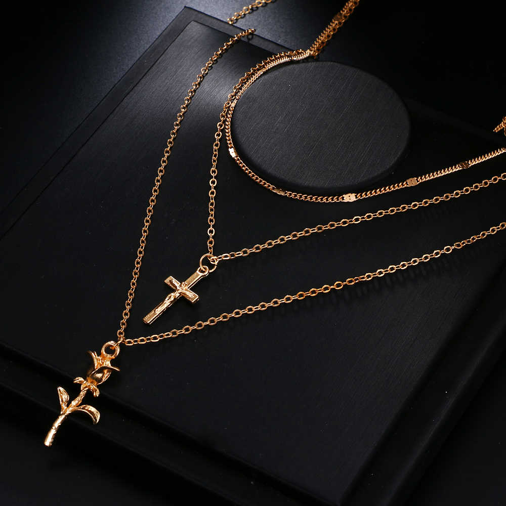 FAMSHIN Bohemian Multilayer Rose Cross Pendant Necklace for Women Vintage Gold Color Party Charms Choker Necklace Collar Jewelry
