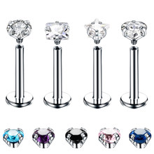 1PC Steel Crystal Labret Monore Rings Lip Piercings Heart Star Orelha Cartilage Ear Helix Stud Tragus Barbell Piercings Jewelry(China)