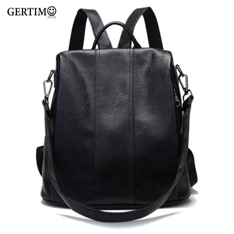 Grandes femmes Anti-vol 100% sacs à dos en cuir véritable cartable souple pour filles Portable sac à dos sac femme/dames sacs à dos