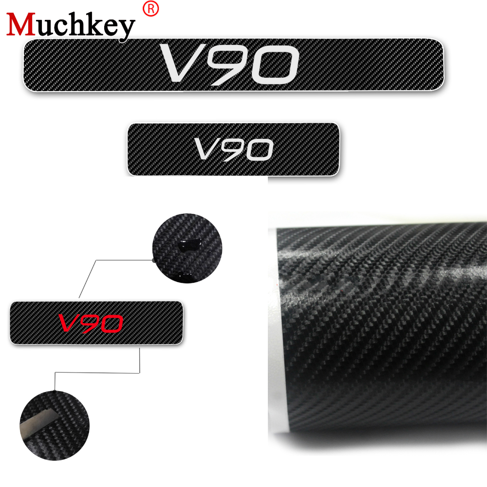 For VOLVO V90 Car Door Sill Scuff Plate Door Threshold Plate Protector 4D Carbon Fiber Vinyl Sticker Car Styling Auto Part 4Pcs Car Stickers     - title=