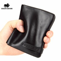 BISON DENIM Luxury Leather Wallet Mens Small Short Wallet Purse Male Card ID Holders Brand Thin