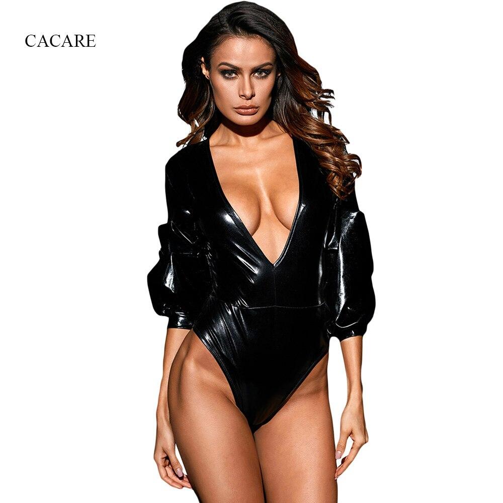 Robe Sexy Women Sleepwear CHEAPEST Onesie Bodysuits Nightgown F2992 Pyjama 3/4 Sleeve Deep V Neck Black