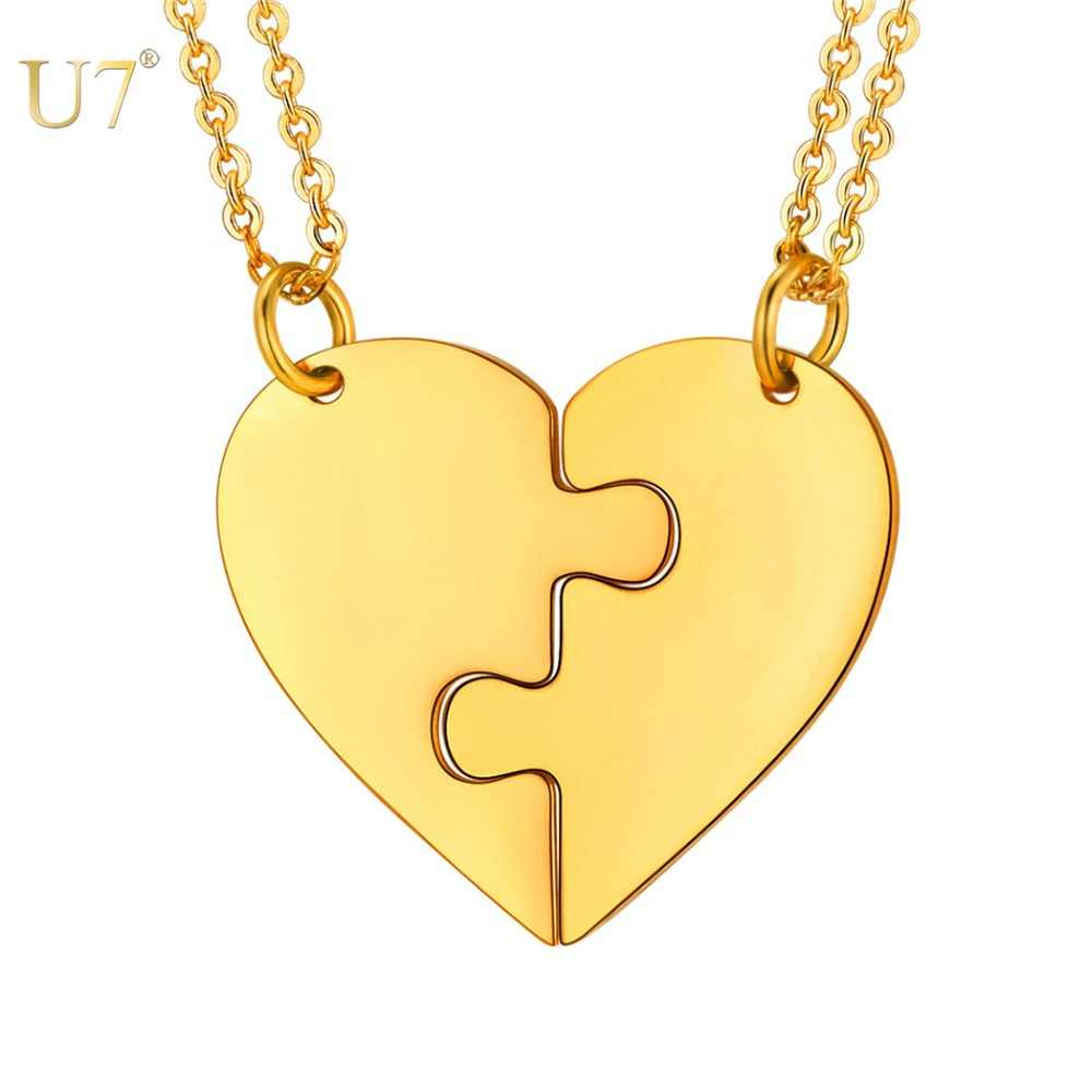 U7 Two Halves Stainless Steel Heart Personalized Puzzle Piece Necklace For Lovers Girls Women Choker Engraving Pendants P1240
