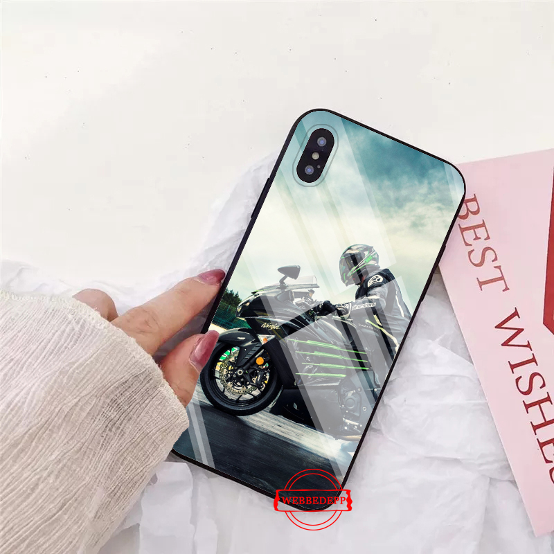 WEBBEDEPP Motocross moto Glass Phone Case for Apple iPhone XR X XS Max 6 6S 7 8 Plus 5 5S SE in Fitted Cases from Cellphones Telecommunications