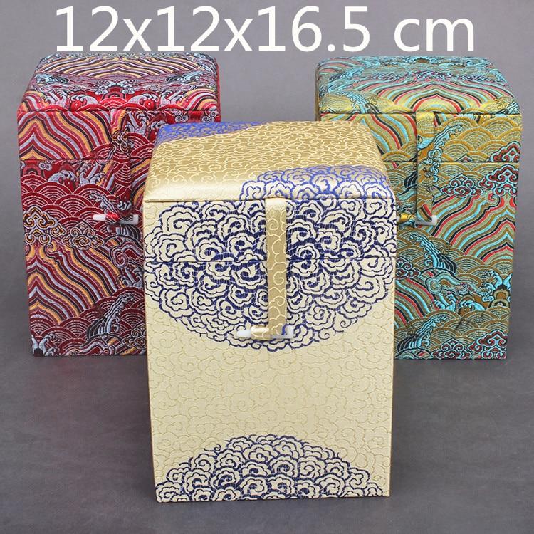 Grand grand carré soie tissu boîte bijoux chinois bois boîte cadeau emballage haut de gamme doux stockage décoration boîte Collection