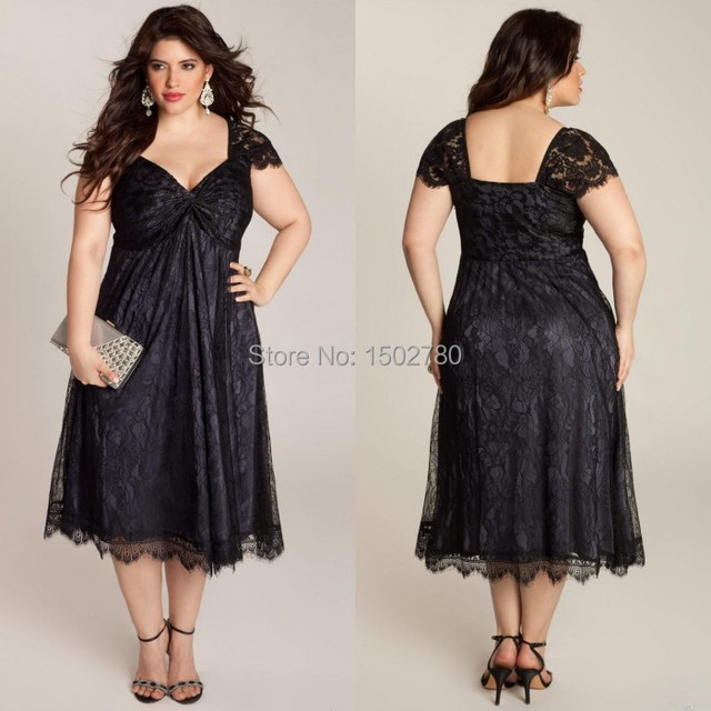 Black Plus Size New Years Eve Dresses Cap Sleeve Ruched Lace Mother