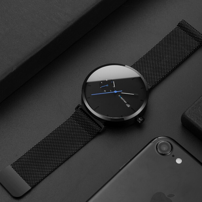 Nouvelle montre pour homme quartz pour mode décontractée Montres Étanche Bleu Point Simple Hommes Montre-Bracelet Mâle Date Semaine Horloge Relogio Masculino - 2