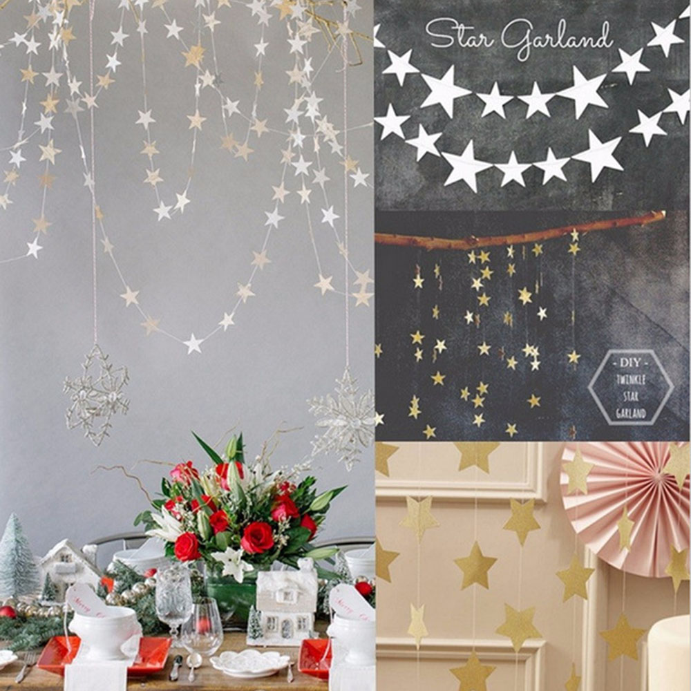 4m Gold Star Garlands Paper Birthday Party Decorations Paper