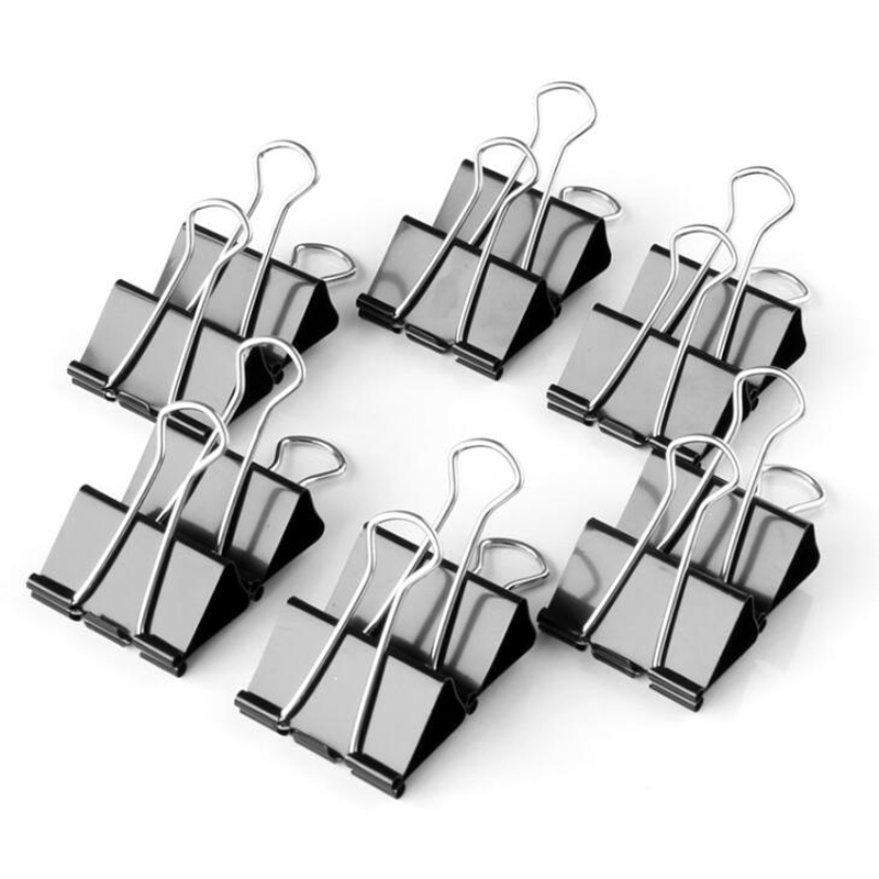 36 pcs Paper Clips Creative Clip Office School Home Supplies Black Metal Binder Clips Stationery Retail Wholesale Papelaria mata bor amplas