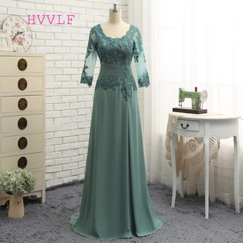 Plus Size Green Mother Of The Bride Dresses A-line V-neck Chiffon Lace Wedding Party Dress For - discount item  10% OFF Wedding Party Dress
