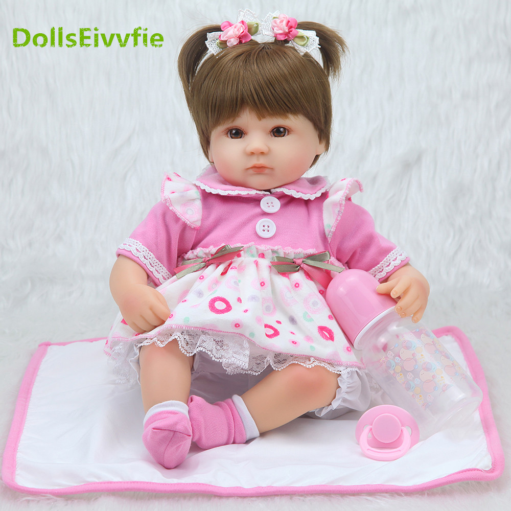 DollsEivvf40cm Silicone Reborn Baby Doll kids Playmate Gift For Girls 16 Inch Baby Alive Soft Toys