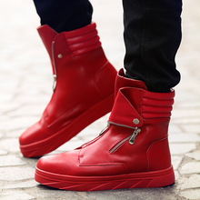 Fashion Men martin boots zipper High Top sneakers Hip Hop Leather Casual Shoes Lace Up Thick Platform Flats Street Dancing Shoes