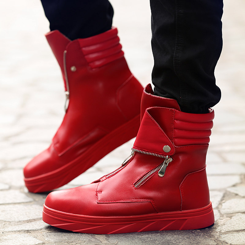 Fashion Men martin boots zipper High Top sneakers Hip Hop Leather Casual Shoes Lace Up Thick Platform Flats Street Dancing Shoes adboov fashion camo sneakers men hip hop shark low top skateboarding shoes lace up street leather casual shoes flats