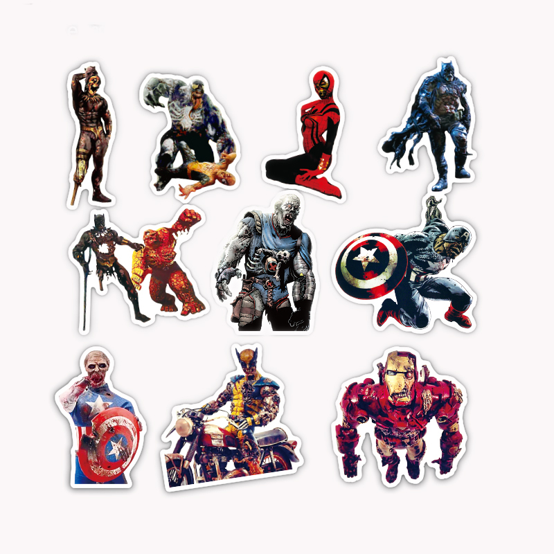 36Pcs/Lot Zombie SuperHero Sticker Funny Zombie styles For Car Laptop Pad Luggage Skateboard Bicycle Decal Sticker