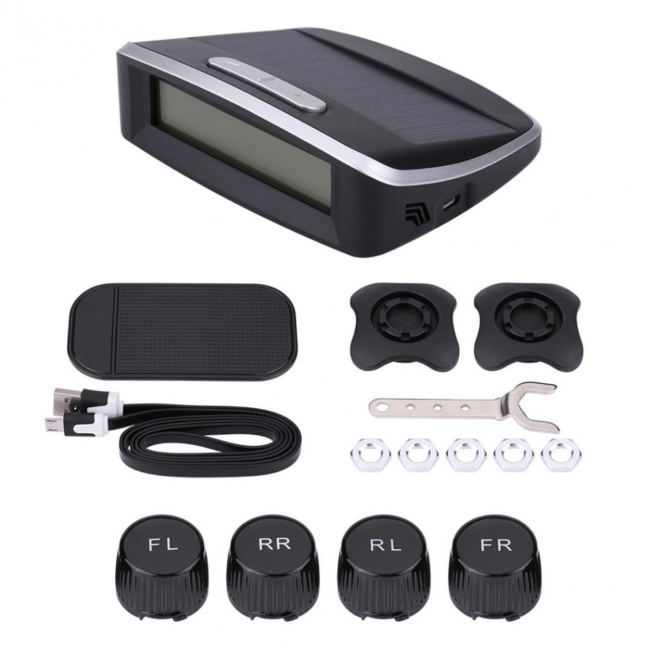 Car Wireless Solar Powered Tire Pressure Monitoring System Car TPMS with 4 External Sensors careud u903 wf tpms wireless tire pressure monitor with 4 external sensors