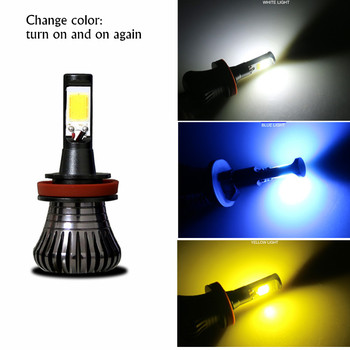 2pcs H8 H9 H11 Car Fog Driving Light 9005 HB3 9006 HB4 H27 880 881 Bulb Lamp LED 80W White Blue Yellow Dual Color 12V image