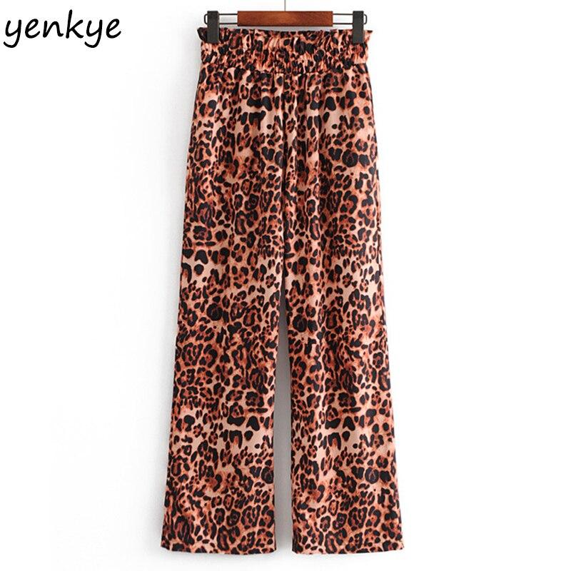 Spring 2019 Women Sexy Leopard   Wide     Leg     Pants   Female Elastic High Waist Casual Long Trousers pantalon mujer YYWM202