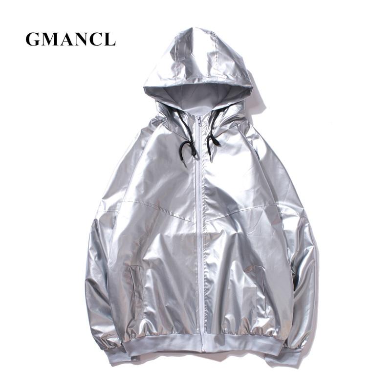 GMANCL Hooded Jackets 2018 Men New Streetwear Hip hop Fashion Waterproof Men Stitching Casual windbreaker Jacket Coat 4 colors