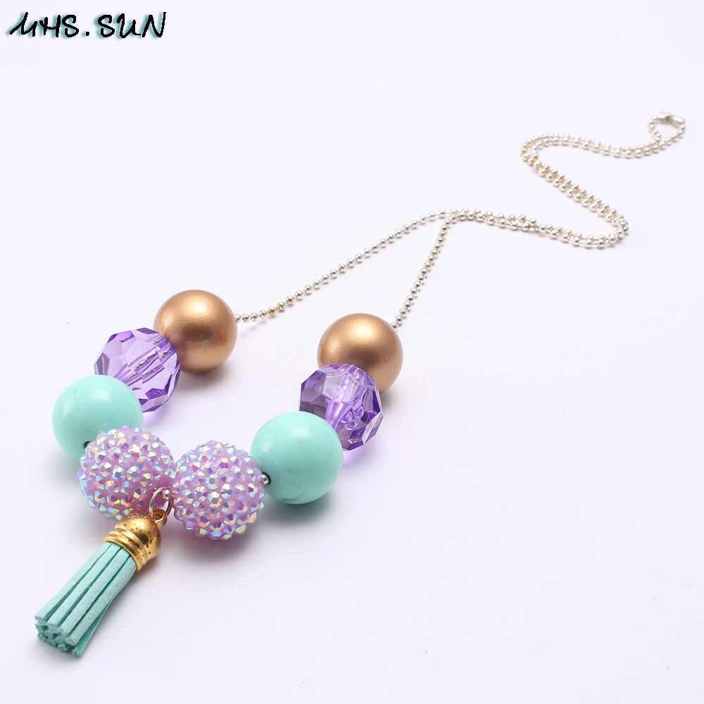 MHS. óculos de SOL Do Bebê meninas crianças crianças bubblegum chunky beads colar moda deisgn borla pendanst beads colar 1 pçs/lote