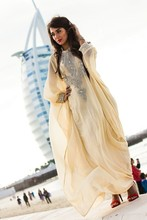 Islamic Abaya in Dubai Kaftan Formal Dresses Crystal Beading Chiffon Long Sleeve Evening Dress