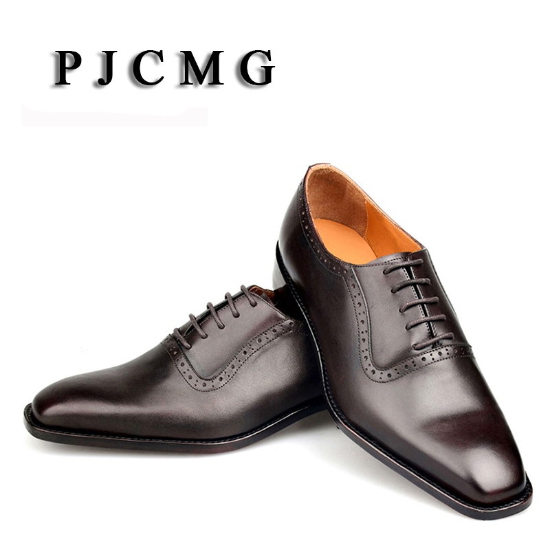 PJCMG Customize Italian Style Handmade Tassel Men's Genuine Leather Goodyear Round Toe Lace-up Dress Wedding Prom Oxfords Shoes pjcmg fashion spring autumn pointed toe black red lace up flats round toe genuine leather oxfords men dress wedding shoes