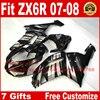 Hot Fairings For Kawasaki ZX6R Fairing Kits 2007 2008 Silver Black Motorcycle Parts ZX 6R 07