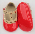Cute! Newborn Girl Studs First Walkers Patent Leather Shoes 3~18M baby Rivet T-strape Baby shoes ONE STAR Pink Red pre-walker
