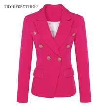 Double Breasted Blazer Women Long Sleeve Red Neon Jacket Ladies Blazers And Jackets Woman 2019 Autumn