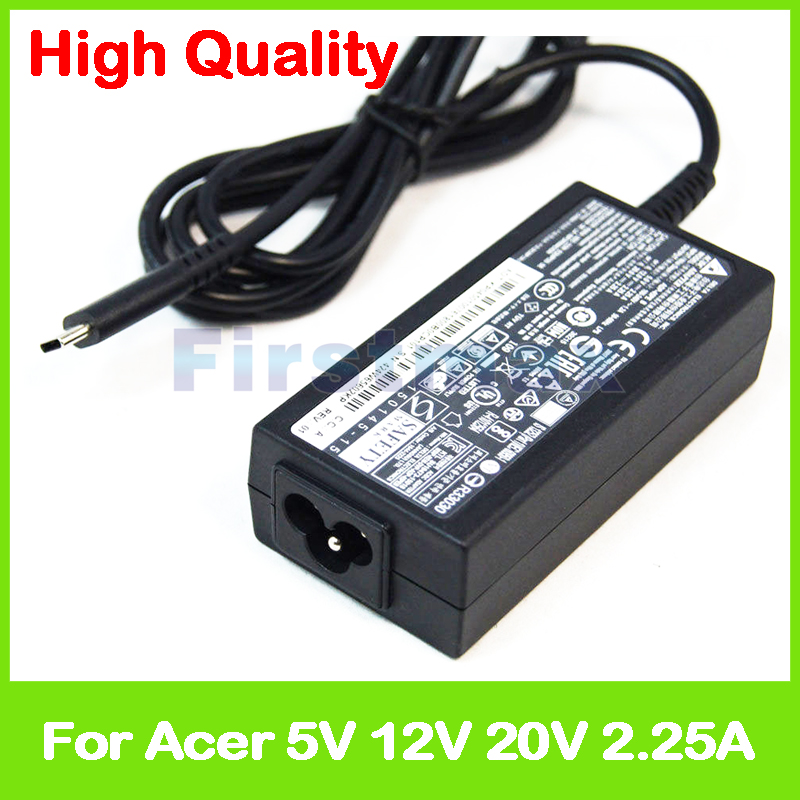 New 45W 5V 2.25A 12V 2.25A 20V 2.25A type C for Acer Spin 7 SP714-51 laptop Ac Power Adapter Charger ADP-45PE B KP.04501.007 for lenovo thinkpad g505 g510 g50 30 g50 70 20v 2 25a 45w usb notebook laptop supply power ac adapter charger