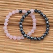 Летний стиль натуральный камень браслет из бисера гематит розовый
