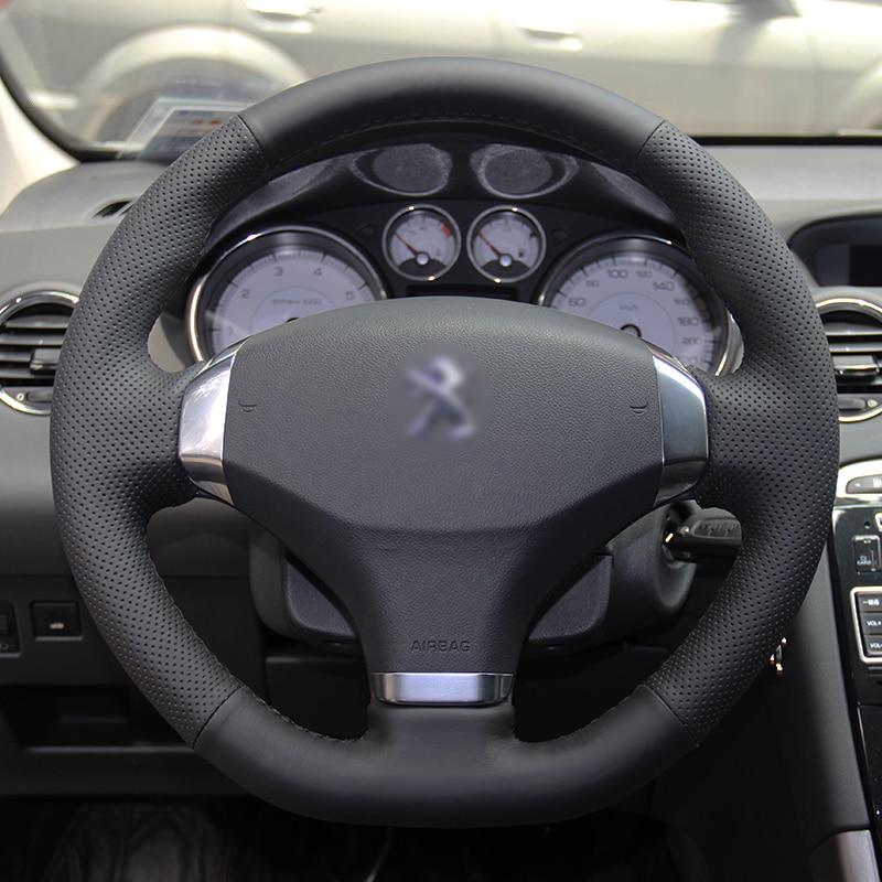 BANNIS Acoperire volantă din piele artificială neagră DIY, cusută manual pentru Peugeot 2012-2014 308 2013 Peugeot 408