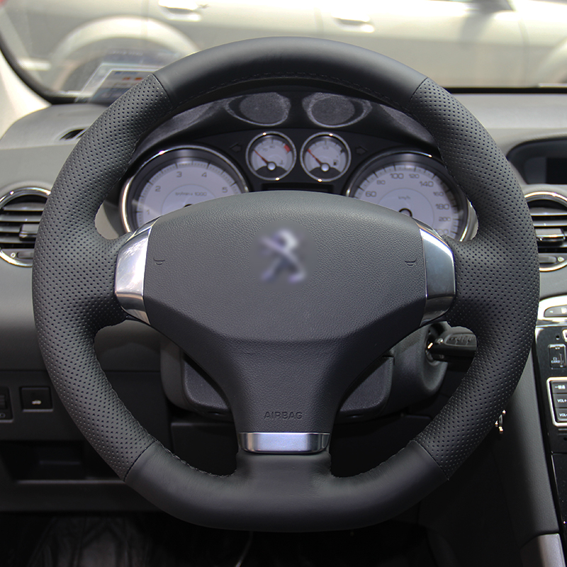 BANNIS Black Artificial Leather DIY Ručně šitý kryt volantu pro Peugeot 2012-2014 308 2013 Peugeot 408