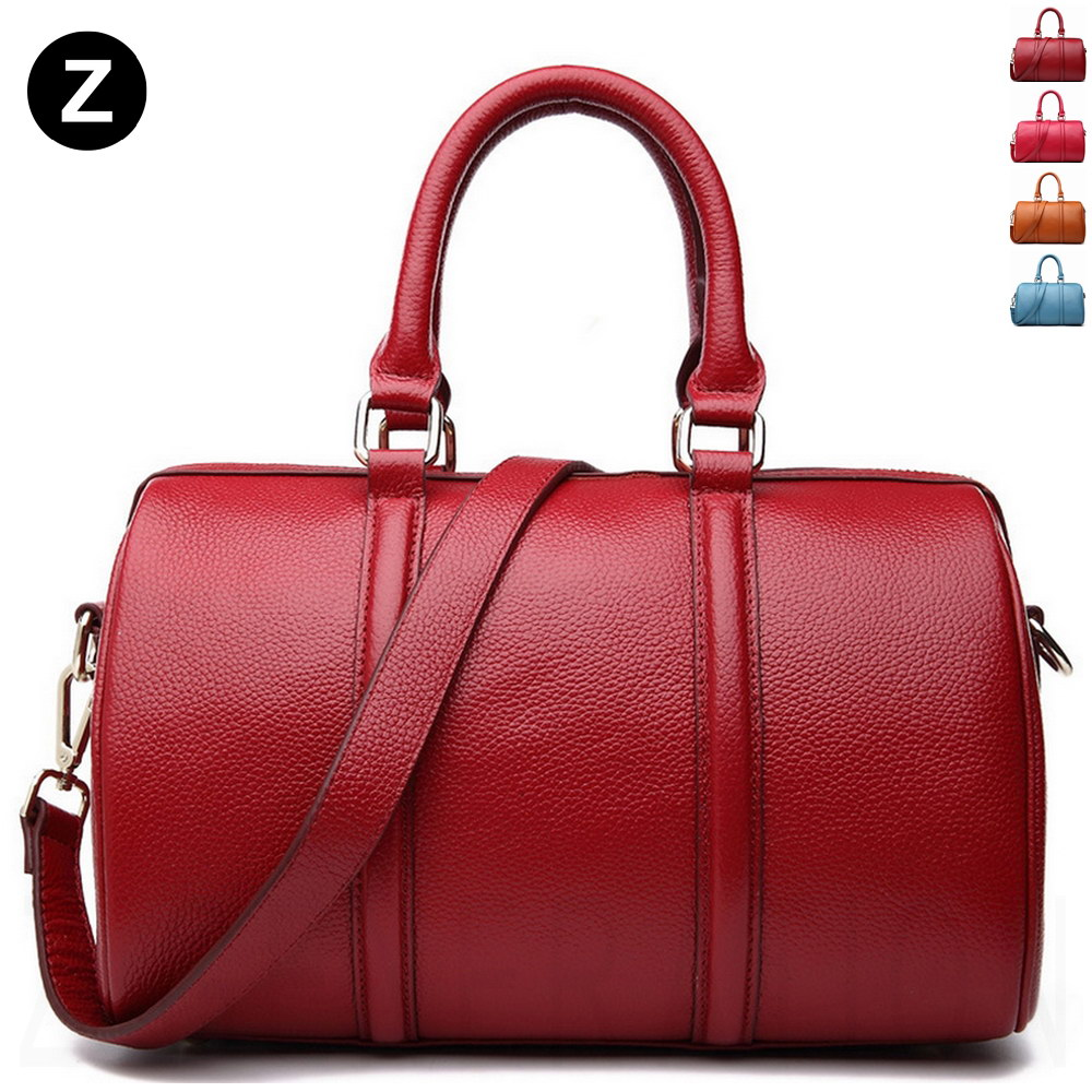 Genuine Leather Bowling Bag Lady Purse Shoulder Fashion Boston Bowler Women Work Handbag Travel In Bags From Luggage On Aliexpress