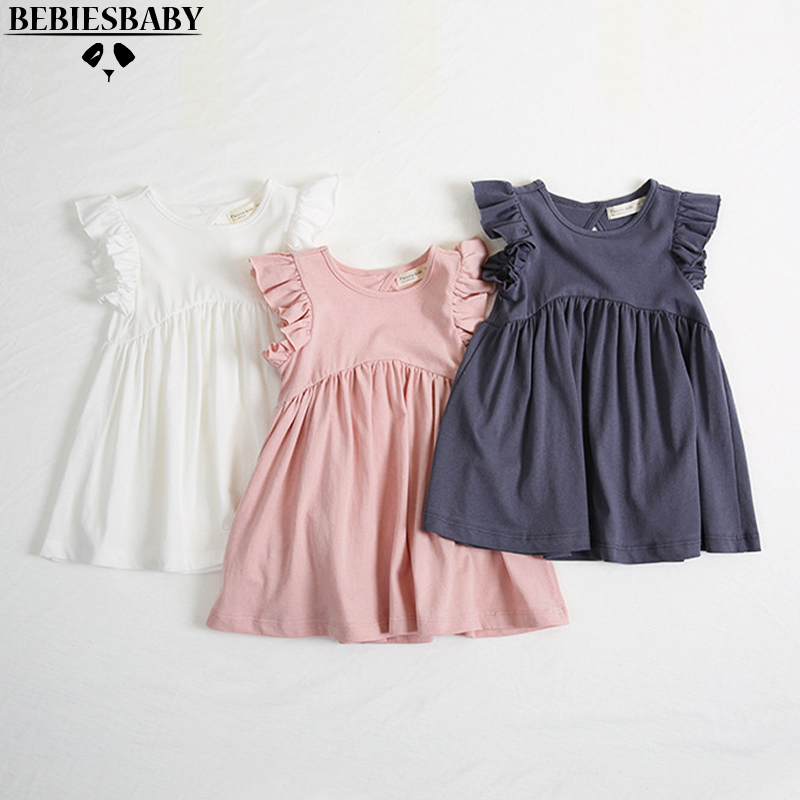 Baby Girls Dresses KIDS Newest Summer Dress  Fly Sleeve Hollow out Dress With Cotton Children Summer Back Hollow Out Dress 1-6Y