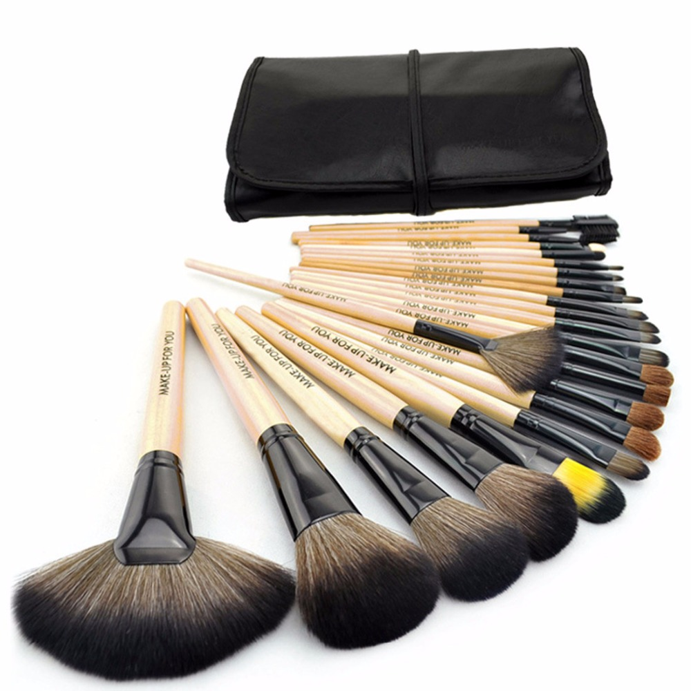 24pcs Raw Wood Makeup Brushes Set Professional Cosmetics Brush Eyebrow Eye Brow Powder Lip Shadows Make Up Tool + Leather Case just make up сухая подводка brow powder 116 цвет 116 variant hex name 947962