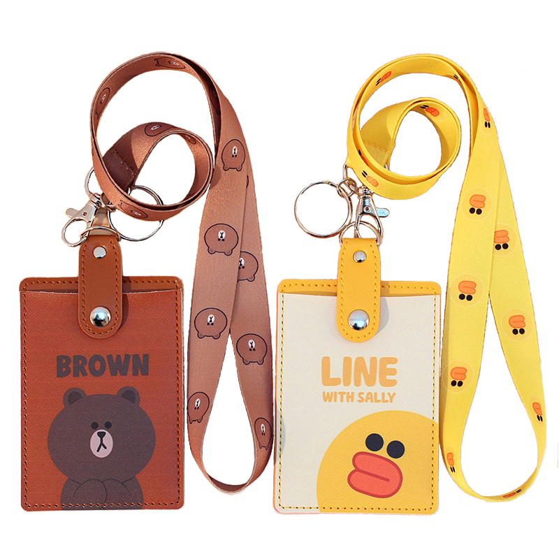 Cute PU Leather Nameplate Name Badge Holder Set With Neck Lanyard Storage Pocket Student Meal Card Transportation Card Tag NameCute PU Leather Nameplate Name Badge Holder Set With Neck Lanyard Storage Pocket Student Meal Card Transportation Card Tag Name