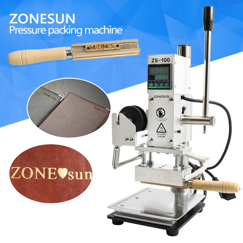 ZONESUN Hot Foil Stamping Embossing Machine Manual Bronzing Machine for Wood Leather PVC Card Paper Heating Stamper Tool toauto digital hot foil stamping machine large 10x13cm logo embossing tool manual logo branding pvc card paper printing machine