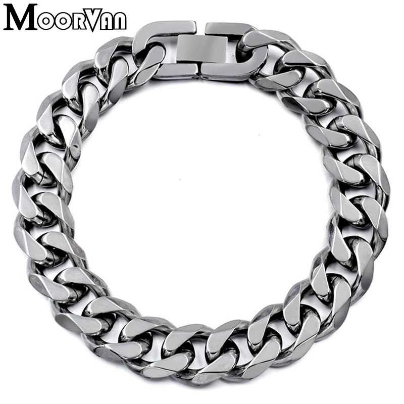 Moorvan Jewelry Men Bracelet Cuban links & chains Stainless Steel Bracelet for Bangle Male Accessory Wholesale B284 17