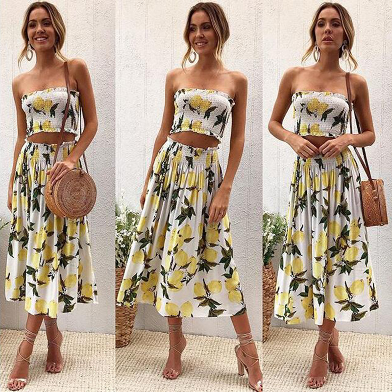 Women Fold Print 2 Piece Set Summer For Female Women Tube Tops Crop Top Two Piece Set Skirt Sexy Backless Two Piece Set Summer
