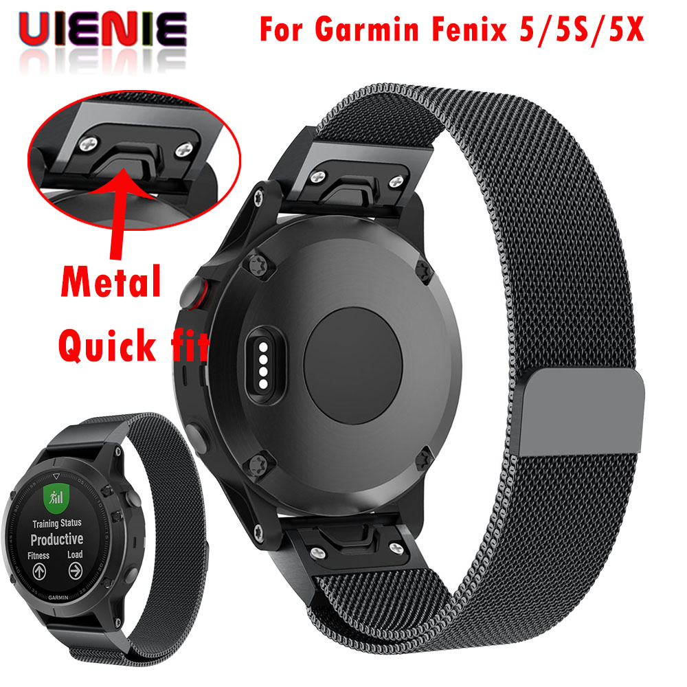 26 22 20 Mm Quick Release Easy Fit Milanese Watch Wrist Band Strap For Garmin Fenix 5X 5 5s 3 3HR S60 D2 Mk1 Smart Watch Man