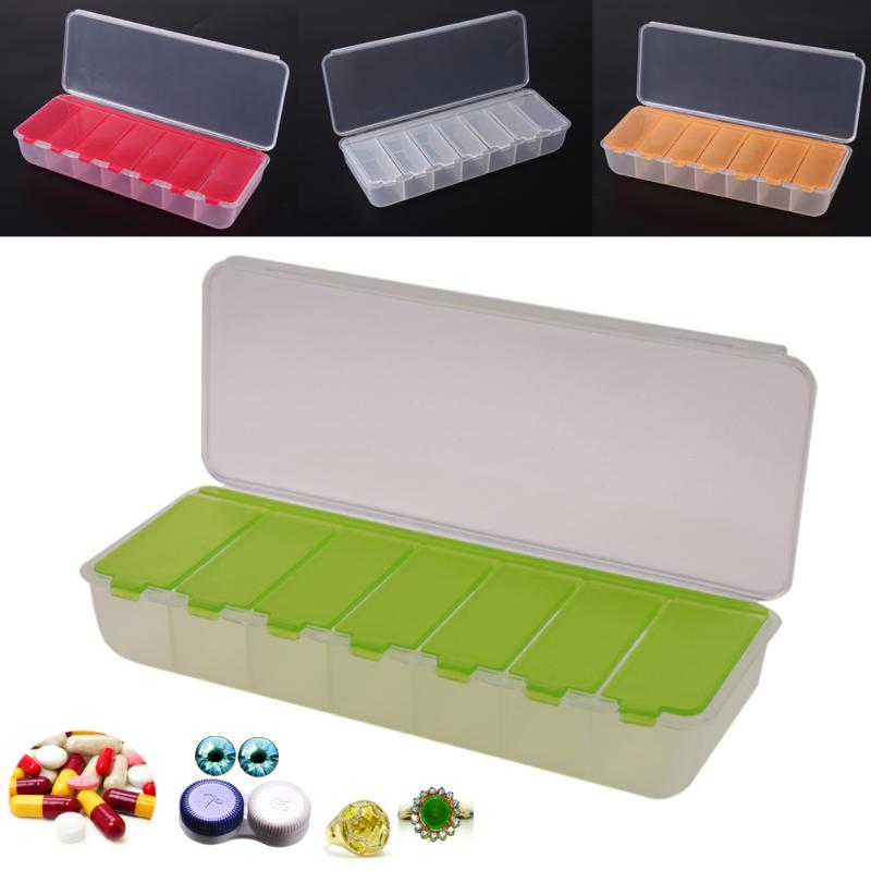 купить 5 COLORS Large Travel Pill Cases Portable 7-Day Medicine Box Tablet Storage Organizer Container Case Colorful Pill Cutter по цене 100.64 рублей