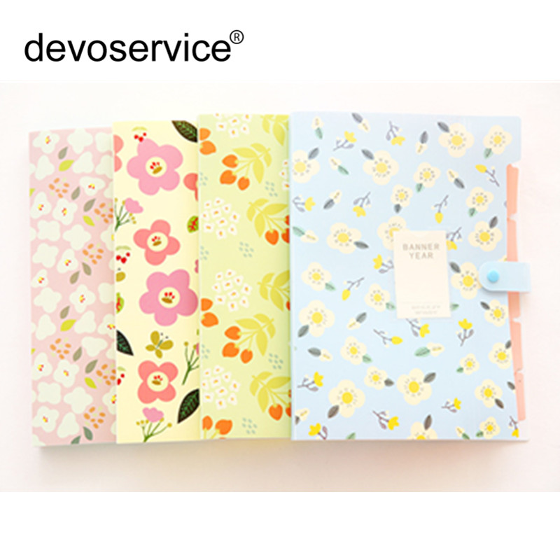 New A4 Floral Fresh Candy Color 6 Folder PP Bag Kawaii Multiple Folders Student Employee Christmas Gifts School Office Supplies