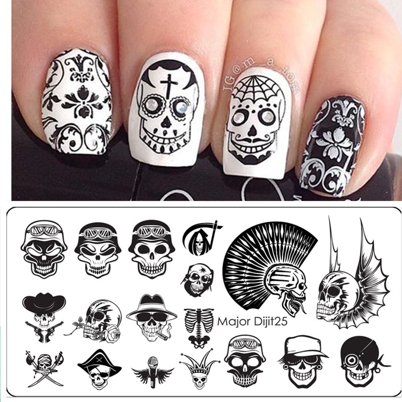 Aliexpress.com : Buy Halloween Nail Art Templates Manicure Stainless Steel  Stamping Kit Sugar Skull Nail Stamping Plate from Reliable nail stamping  plates ... - Aliexpress.com : Buy Halloween Nail Art Templates Manicure Stainless