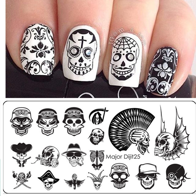 Online shop halloween nail art templates manicure stainless steel halloween nail art templates manicure stainless steel stamping kit sugar skull nail stamping plate prinsesfo Image collections