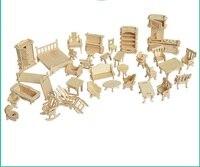 34 Pcs Set Miniature 1 12 Dollhouse Furniture For Dolls Mini 3D Wooden Puzzle DIY Building