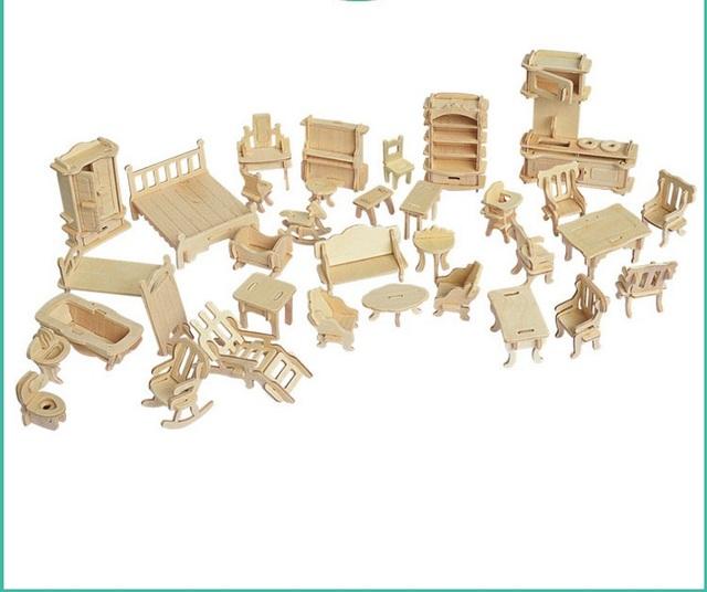 34 unids/set 1:12 dollhouse miniatura muebles de muñecas, mini 3d rompecabezas de madera diy modelo de construcción toys para niños de regalo