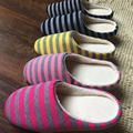 Striped Cloth Bottom Universal Couple Lovers Women Men Winter Warm Slippers Indoor Floor Shoes Non Slipping Home Shoes 2017 Hot